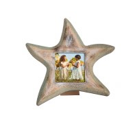 """3"""" x 3"""" Green and White Washed Wood Starfish Picture Frame"""