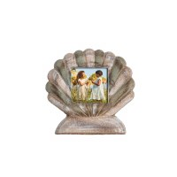 """3"""" x 3"""" Green and White Washed Wood Scallop Picture Frame"""