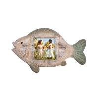 """3"""" x 3"""" Green and White Washed Wood Fish Picture Frame"""