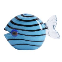 "3.5"" Blue and Black Glass Fish"