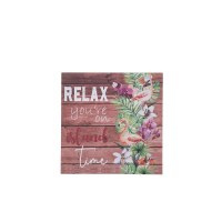 """11"""" Square Relax Island Time Wall Plaque"""