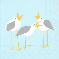 "6.5"" Square Seagulls On Light Blue Lunch Napkin"