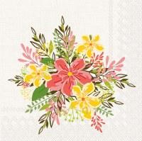 "5"" Square Coral Jasmine Flowers Beverage Napkin"