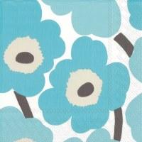 "5"" Square Turquoise Modern Flower Beverage Napkin"