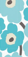 """8.5"""" x 4.5"""" Turquoise Modern Flower Guest Towel"""