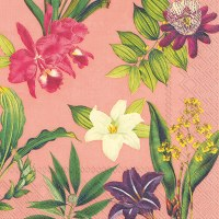 """5"""" Square Tropical Flower On Apricot Beverage Napkin"""