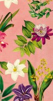 """8.5"""" x 4.5"""" Tropical Flower On Apricot Guest Towel"""