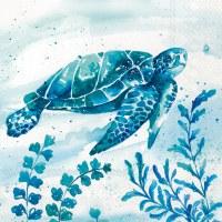 """5"""" Square Blue and Green Sea Turtle Beverage Napkin"""