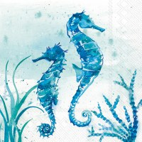 """5"""" Square Blue and Green 2 Seahorses Beverage Napkin"""