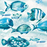 "5"" Square Blue and Green Fish Beverage Napkin"