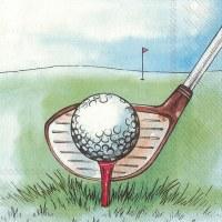 "5"" Square Golf Ball On Tee Beverage Napkin"