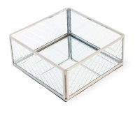 5.5' Square Silver and Glass Beverage Napkin Holder