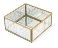 "5.5"" Square Gold and Glass Beverage Napkin Holder"