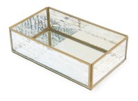 "5"" x 8.75"" Square Gold and Glass Guest Towel Holder"