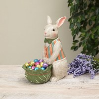 "10"" Multipastel Ceramic Bunny With Bowl"