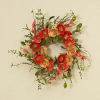 "24"" Orange and Red Poppy Wreath"