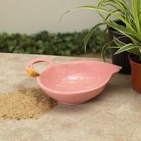 "7"" Ceramic Pink Flamingo Bowl"