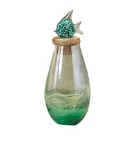 Medium Green Glass Jar With Fish Topper