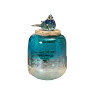 Medium Blue Glass Jar With Bird Topper