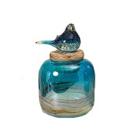 Small Blue Glass Jar With Bird Topper