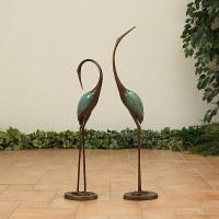 "Set of 2 36"" Bronze and Verdigris Moder Heron Statues"