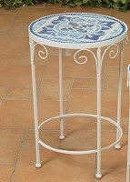 "20"" Round Blue and White Tile Table"