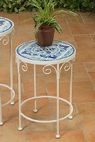 Small Round Blue and White Tile Table