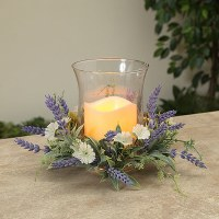 "8"" Lavender Centerpiece With Glass Hurricane"