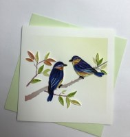 "5"" Square Quilling Two Bluebird On Branch Card"