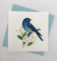 "5"" Square Quilling Bluebird With Flowers Card"