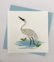 "5"" Square Quilling White Crane Card"