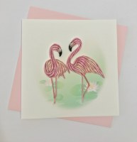 "5"" Square Quilling Flamingo Pair Card"