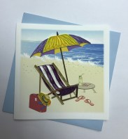 "5"" Square Quilling Sling Chair With Umbrella Beach Scene Card"