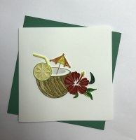 "5"" Square Quilling Tropical Drink In Coconut Card"