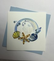 "5"" Square Quilling Shells With Wave Circle Card"