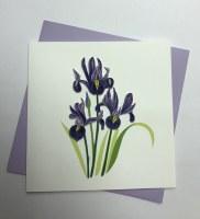 """6"""" Square Quilling Purple Iris Card"""