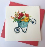 """6"""" Square Quilling Wheelbarrow Full Of Flowers Card"""