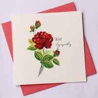 """6"""" Square Quilling Sympathy Red Rose Card"""