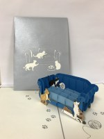"""6"""" Square Pop Up Cats On Blue Couch Card"""