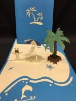 "6"" Square Pop Up Palm Beach Scene Card"