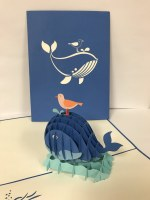"""6"""" Square Pop Up Whale and Bird Card"""