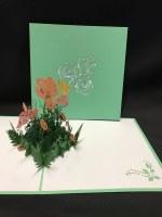 "6"" Square Pop Up Coral Flower Garden Card"