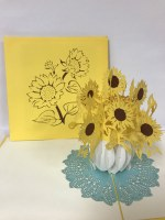 "6"" Square Pop Up Sunflower Card"