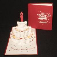 "6"" Square Pop Up Birthday Cake Card"