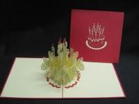 "5"" Square Pop Up Birthday Cake Swirl Card"