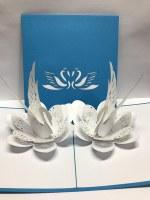 "5"" Square Pop Up Swan Pair Card"