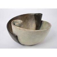 "14"" Round Antique White and Black Swirl Bowl"