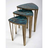 """20"""" Distressed Brass With Blue Glass Set of 3 Nesting Tables"""