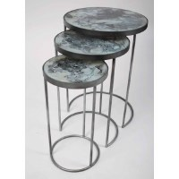 """20"""" Distressed Silver With Gray Glass Set of 3 Nesting Tables"""