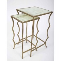 """14"""" Distressed Gold Base With Lined Glass Set of 2 Nesting Tables"""